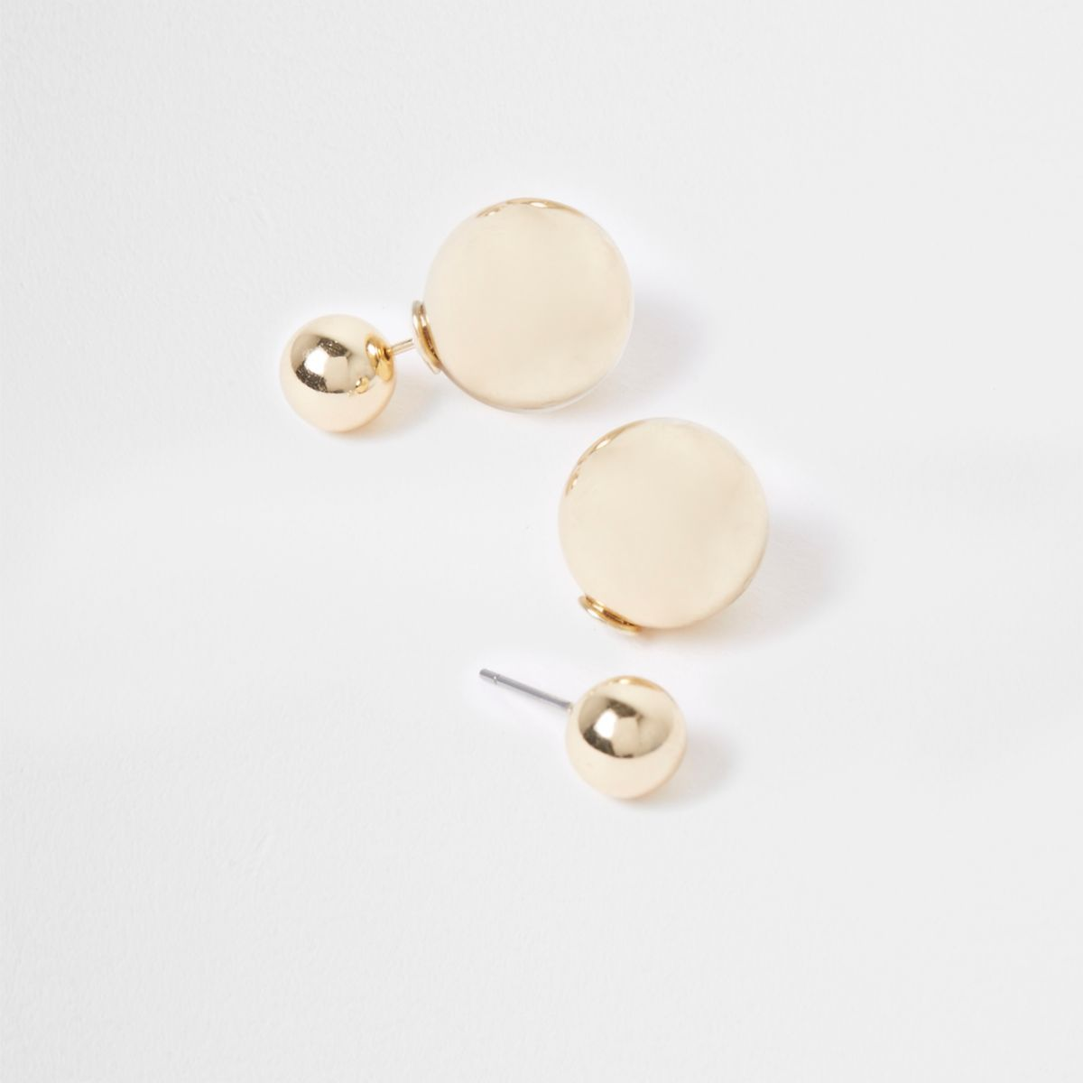 Gold tone ball front and back earrings