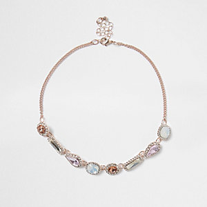 Rose gold tone gem stone choker
