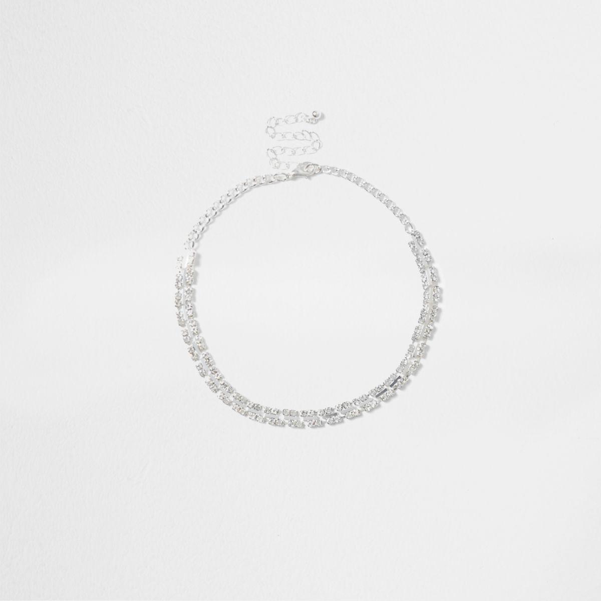 Silver tone square cup chain choker