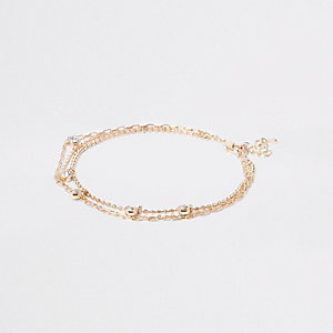 Gold tone diamante anklet