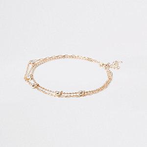 Goudkleurig diamanté enkelbandje met imitatiediamantjes