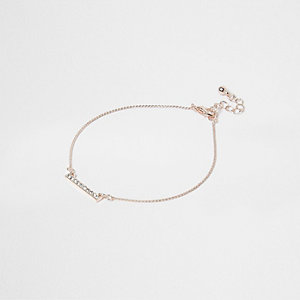 Rose gold tone diamante bar anklet