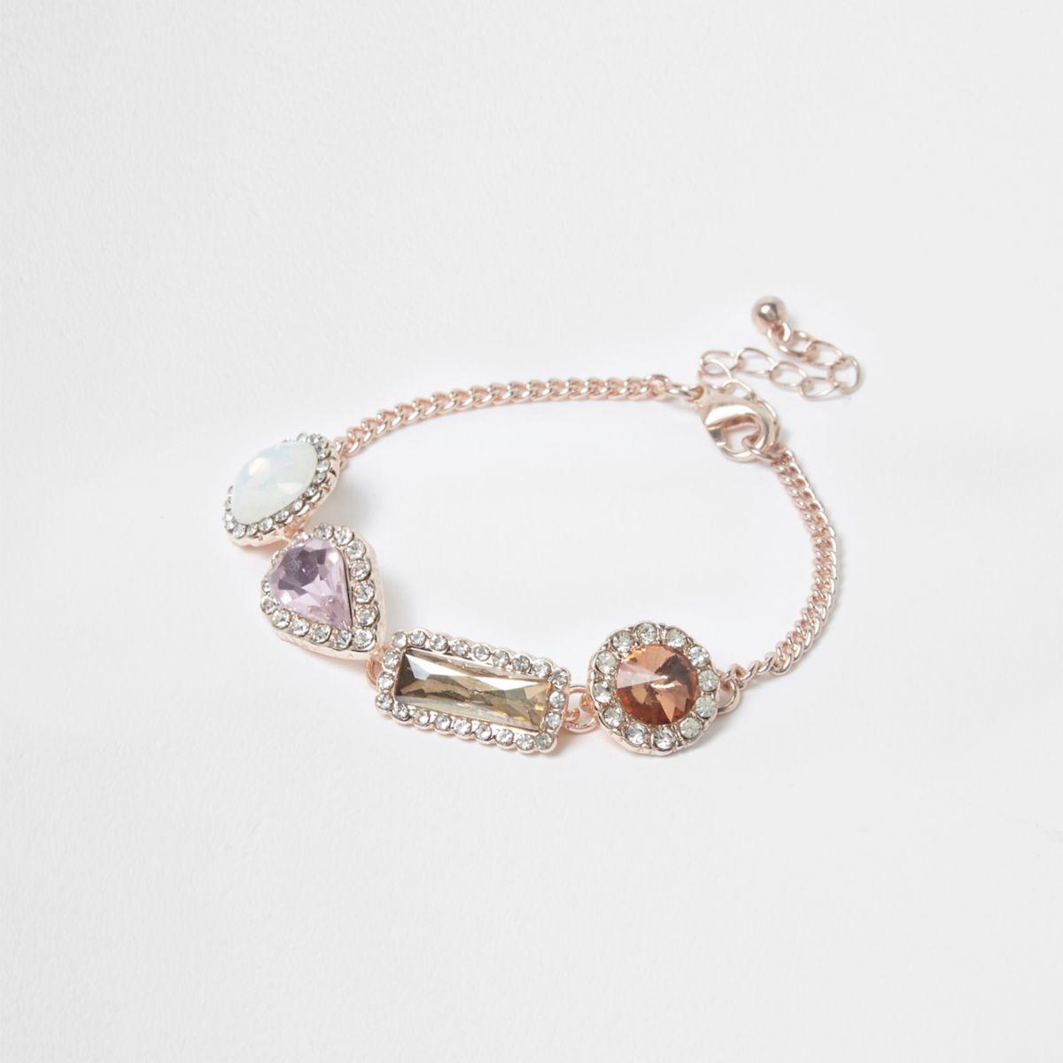 Rose gold tone gem stone bracelet