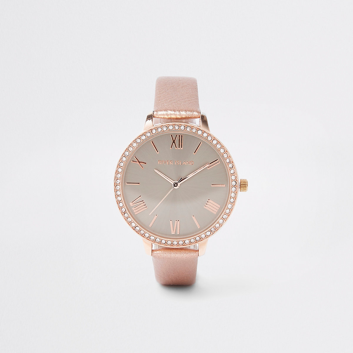 Pink grey dial rhinestone encrusted watch