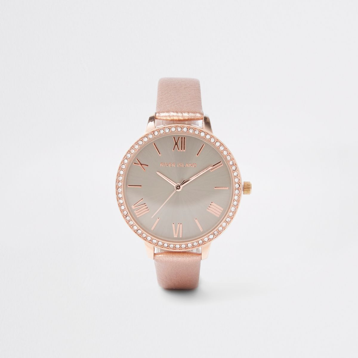 Pink grey dial rhinestone encrusted watch