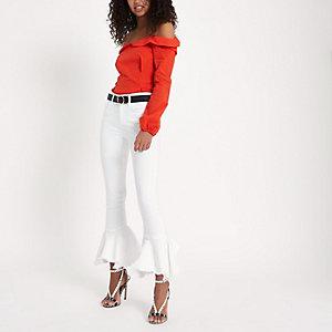 Amelie - Witte superskinny jeans met ruches langs de zoom
