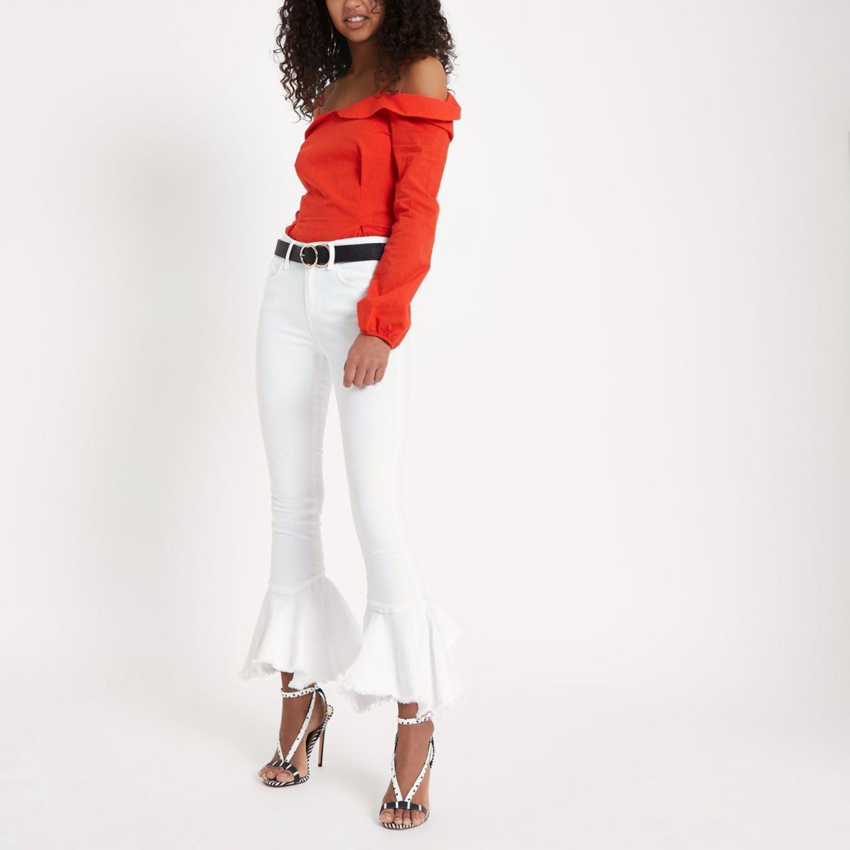 White Amelie frill hem super skinny jeans