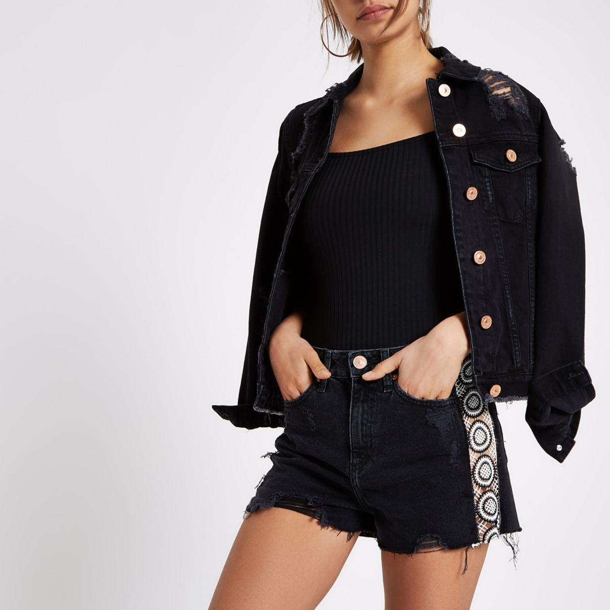 Black crochet trim high waisted denim shorts