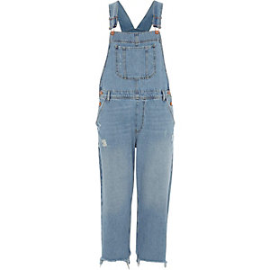 Mid blue wash denim dungaree