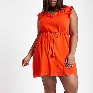 Plus red frill swing dress