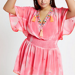 Plus pink tie die drop waist beach cover up