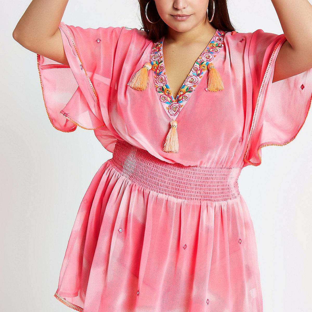 Plus pink tie die drop waist beach cover up
