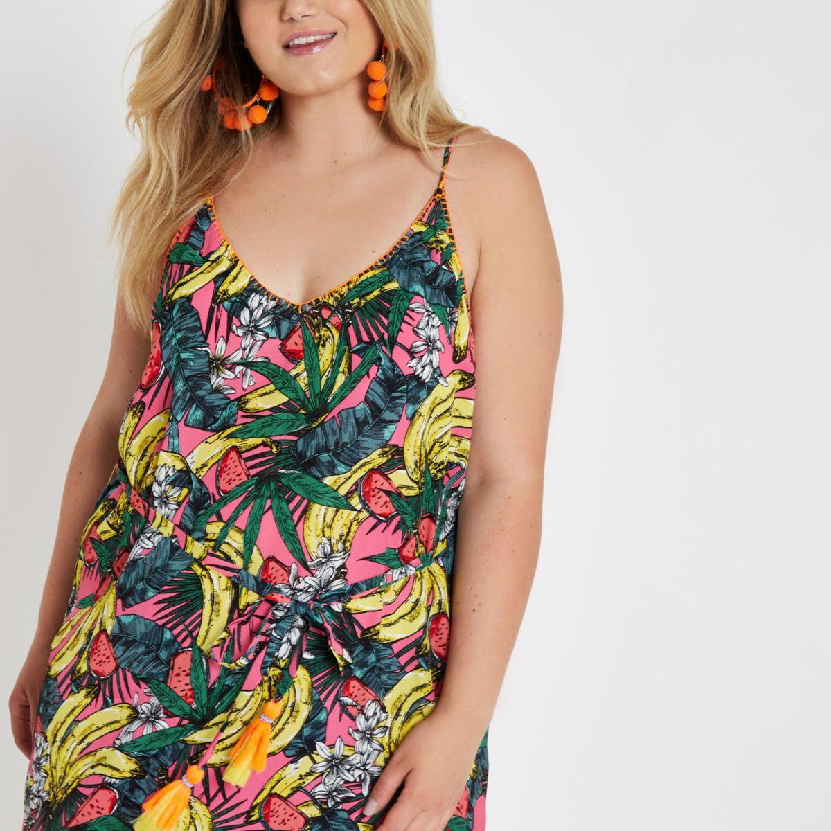 Plus pink banana asymmetric hem beach dress