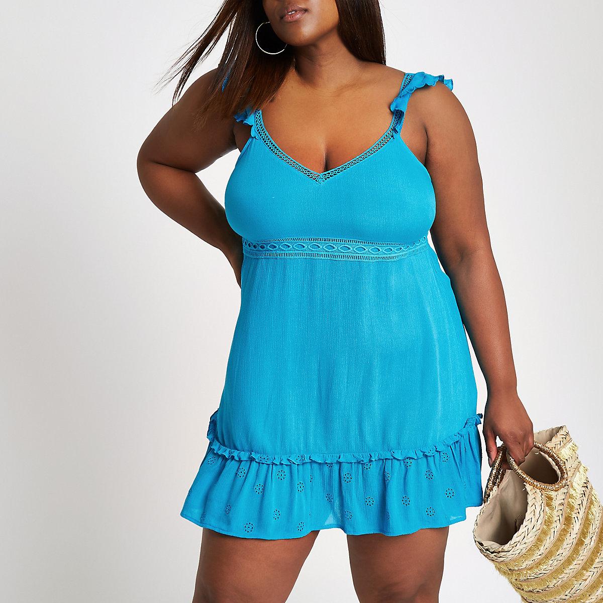 Plus blue bow cut out back cover up - Kaftans   Beach Cover-Ups - Swimwear    Beachwear - women bee9dc8d56886