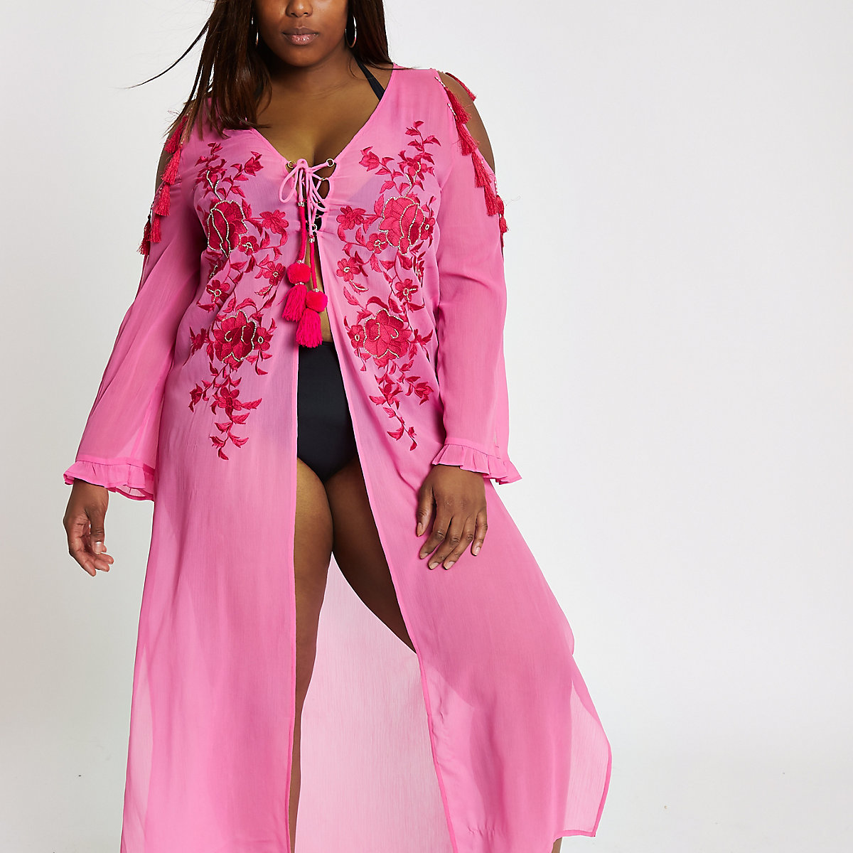 Plus pink floral lace up maxi beach cover up