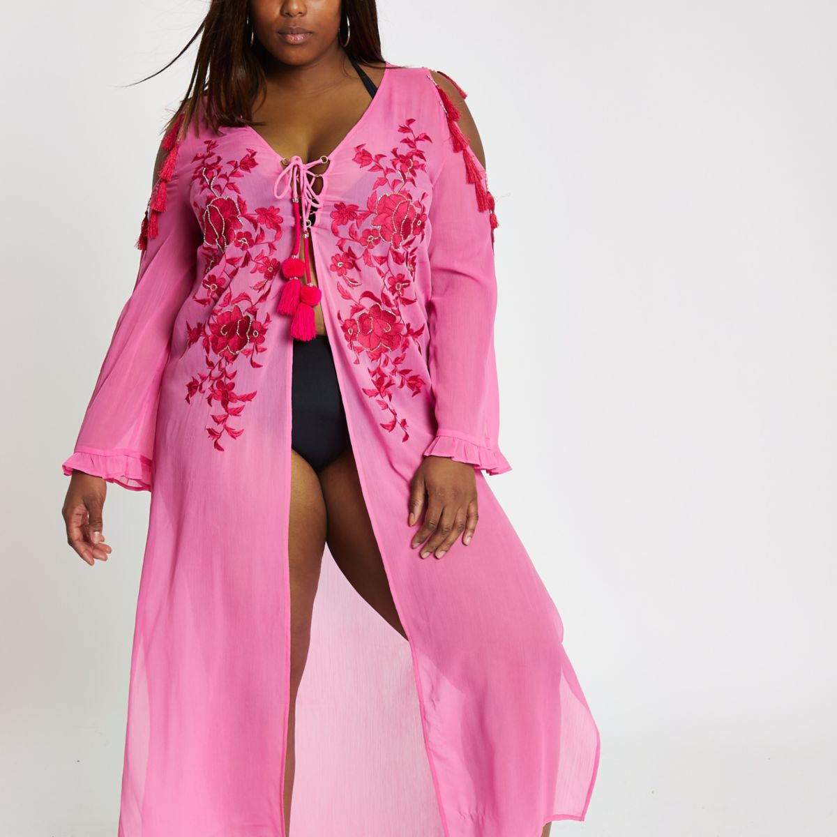 ​Plus pink floral lace up maxi beach cover up