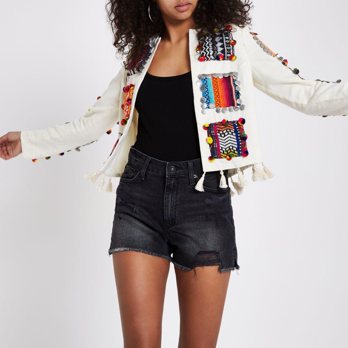 Cream patchwork trophy jacket