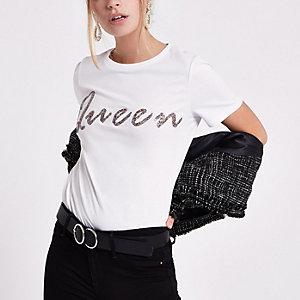 Petite – T-shirt imprimé «queen» à paillettes blanc
