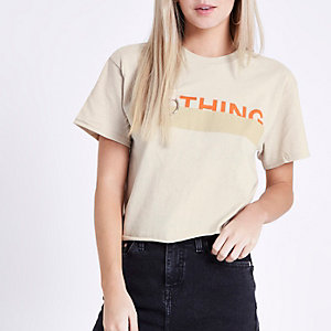 Petite – T-shirt court imprimé «nothing» beige