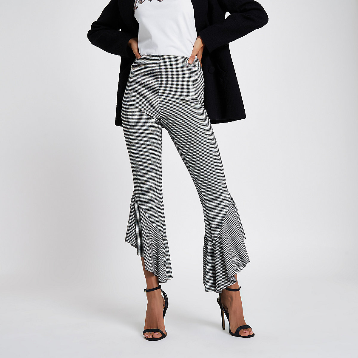 Petite grey gingham check frill hem trousers