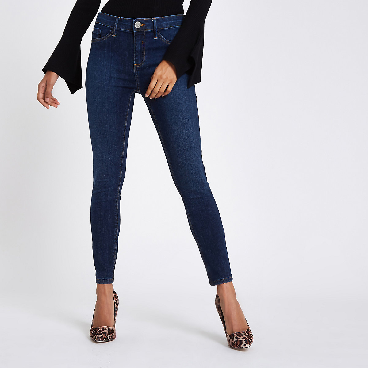 Petite mid blue Molly jeggings