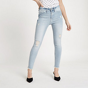 Womens Blue premium crop kickflare ripped jeans River Island