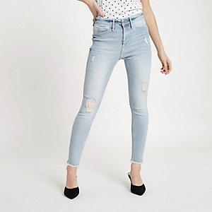 Womens Light Blue premium high waist ripped jeans River Island