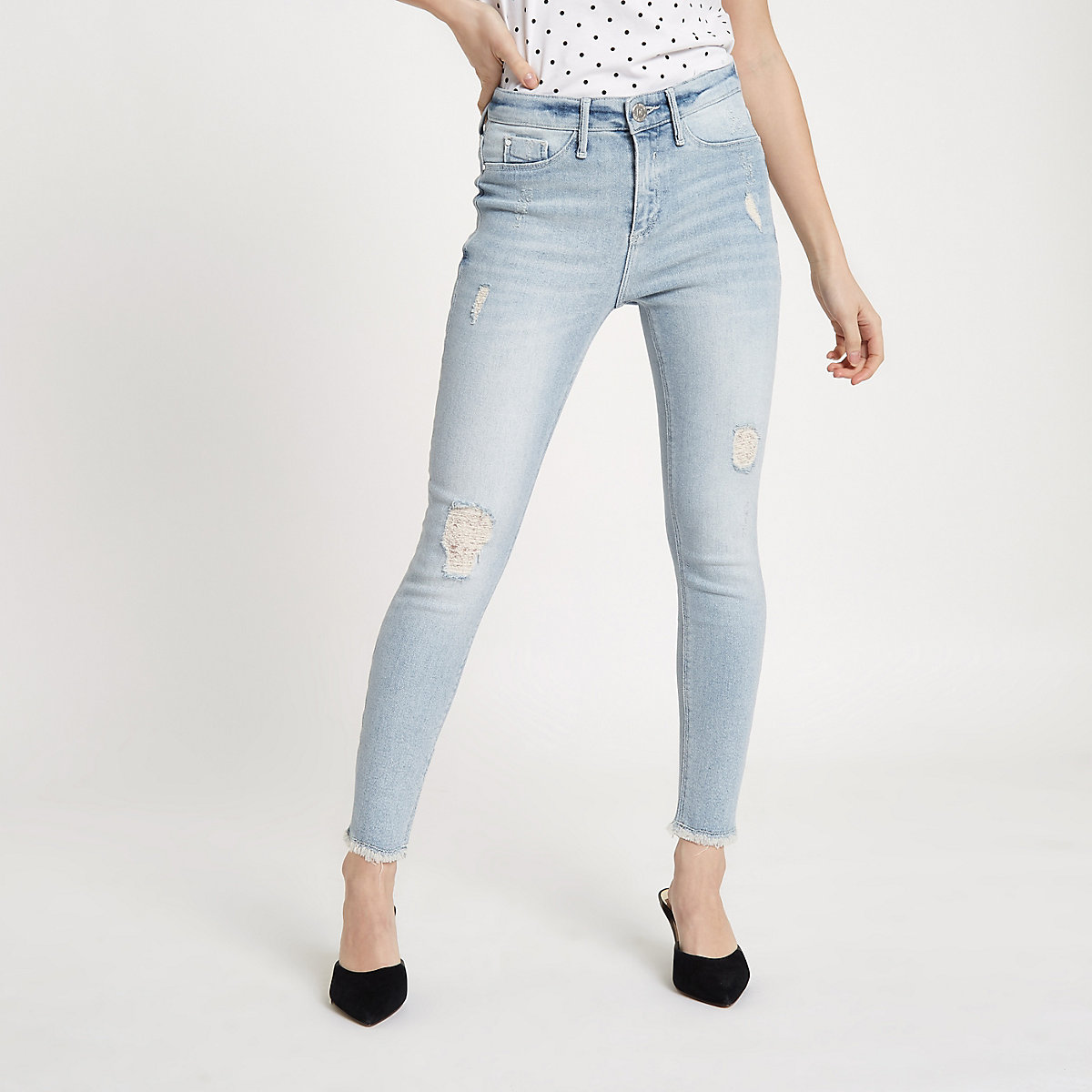 Petite Grey Molly super skinny ripped jegging