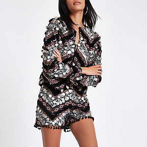 Black print coin trophy jacket