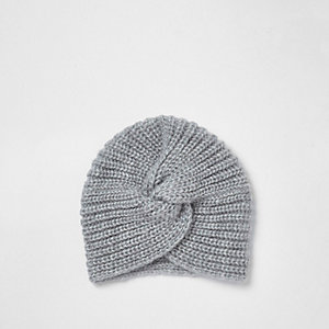 Light grey twist front knitted turban hat