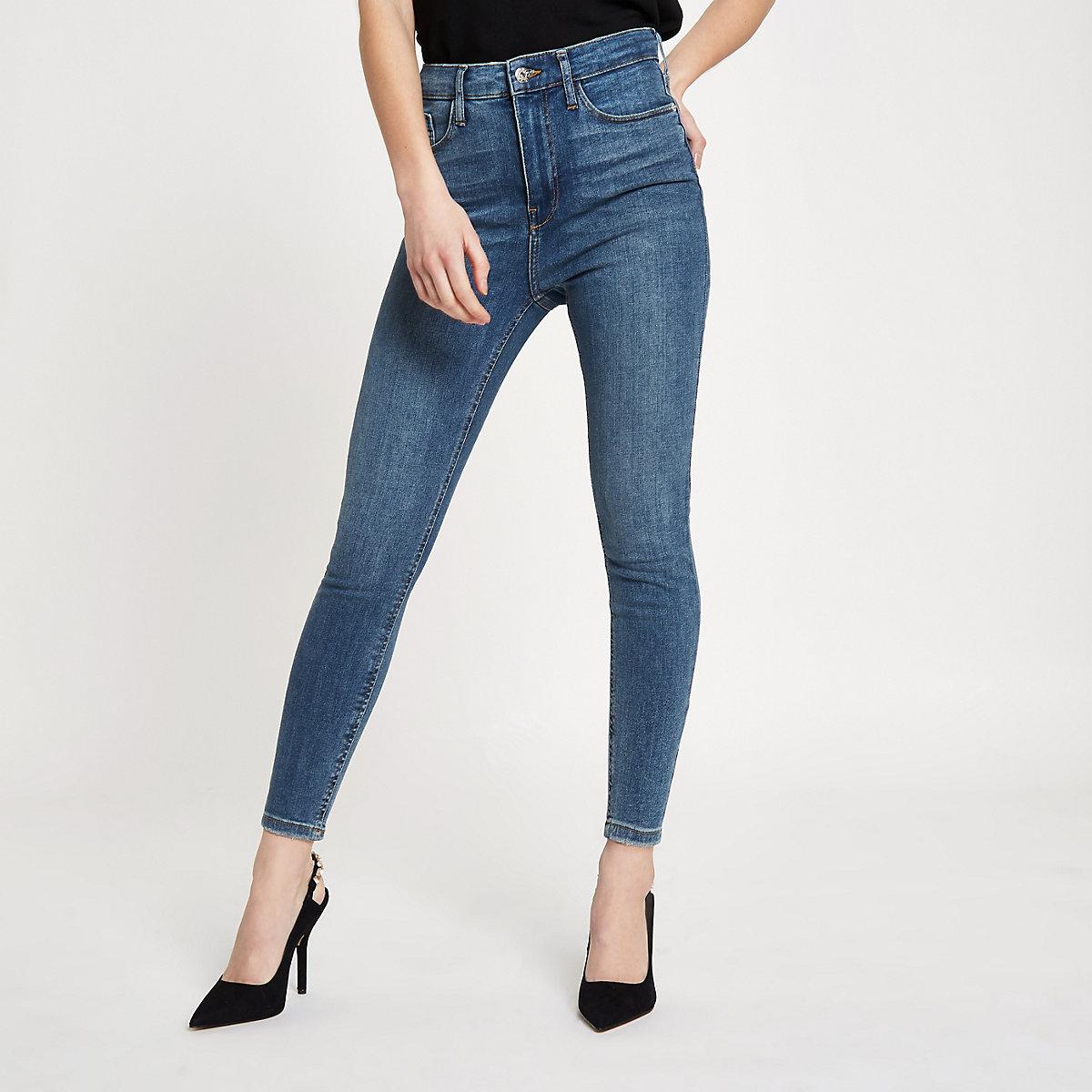 9bf3a8d6a8ece Petite – Harper – Jean skinny bleu mi-délavé taille haute - Jeans ...