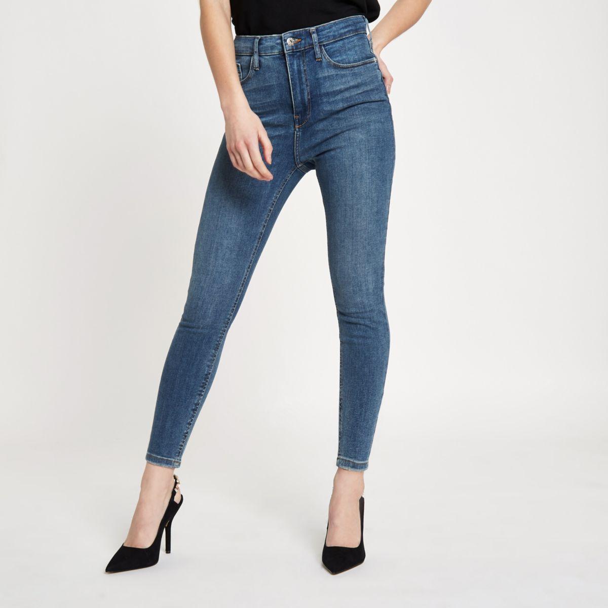 64522575a7fa Petite – Harper – Jean skinny bleu mi-délavé taille haute - Jeans ...