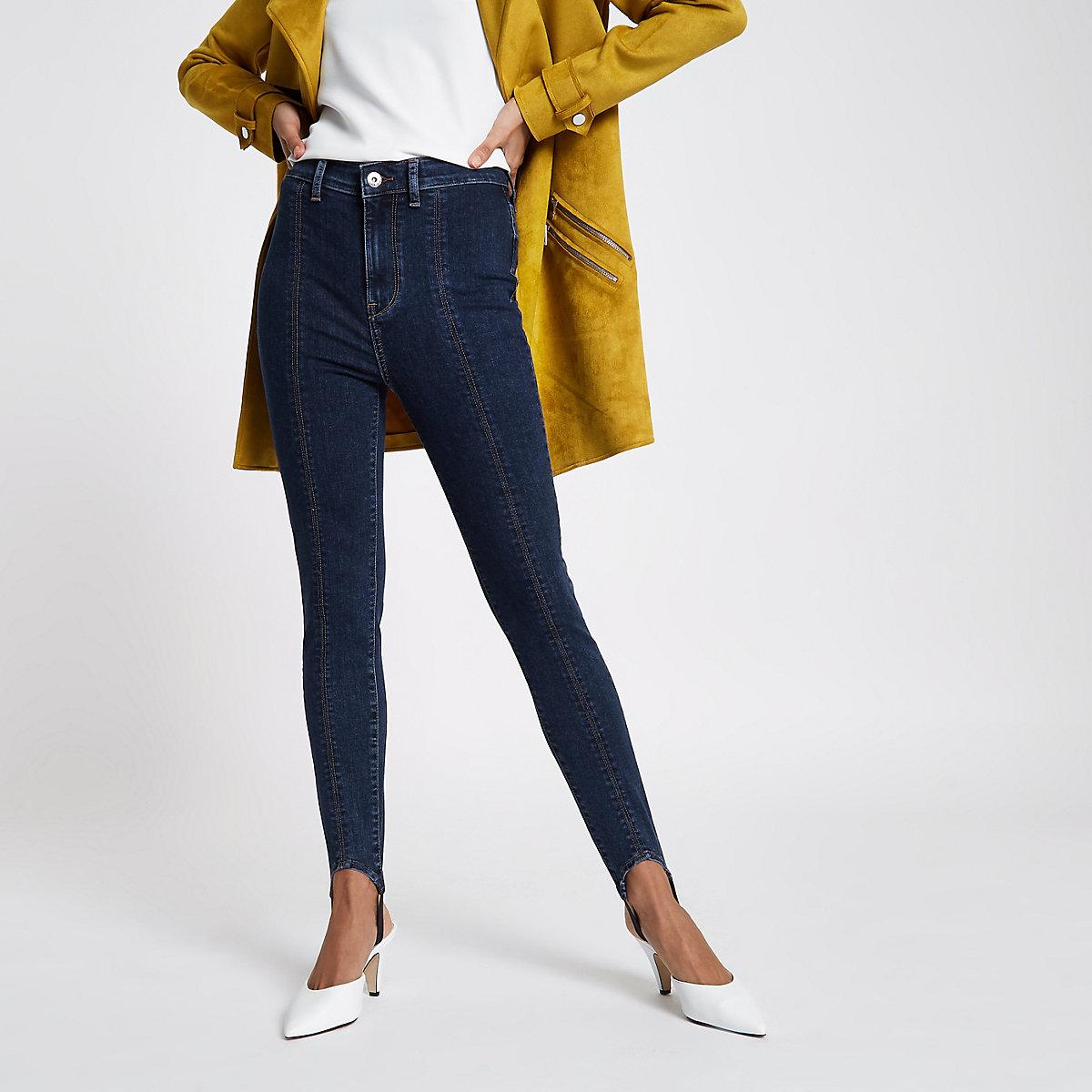 Mid blue Harper high rise stirrup jeans
