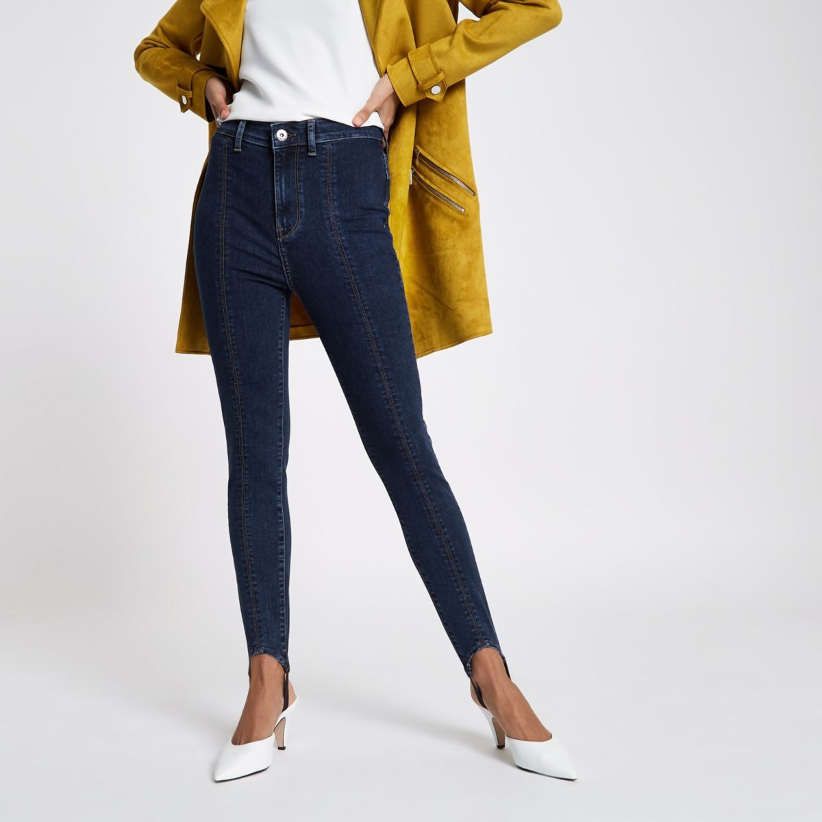 Harper - Middenblauwe jeans met hoge taille en bandjes onder de voet