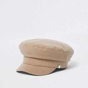 Tan twill baker boy hat