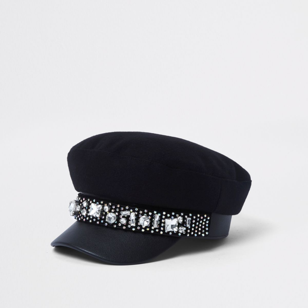 Black jewel embellished baker boy hat