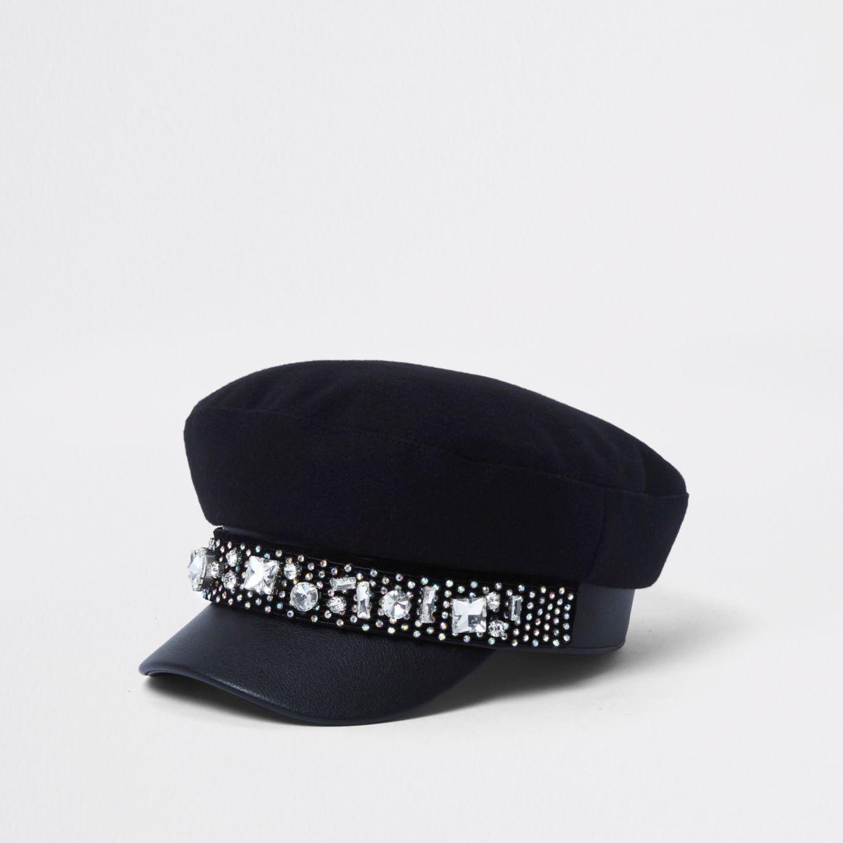 Black jewel embellished baker boy hat