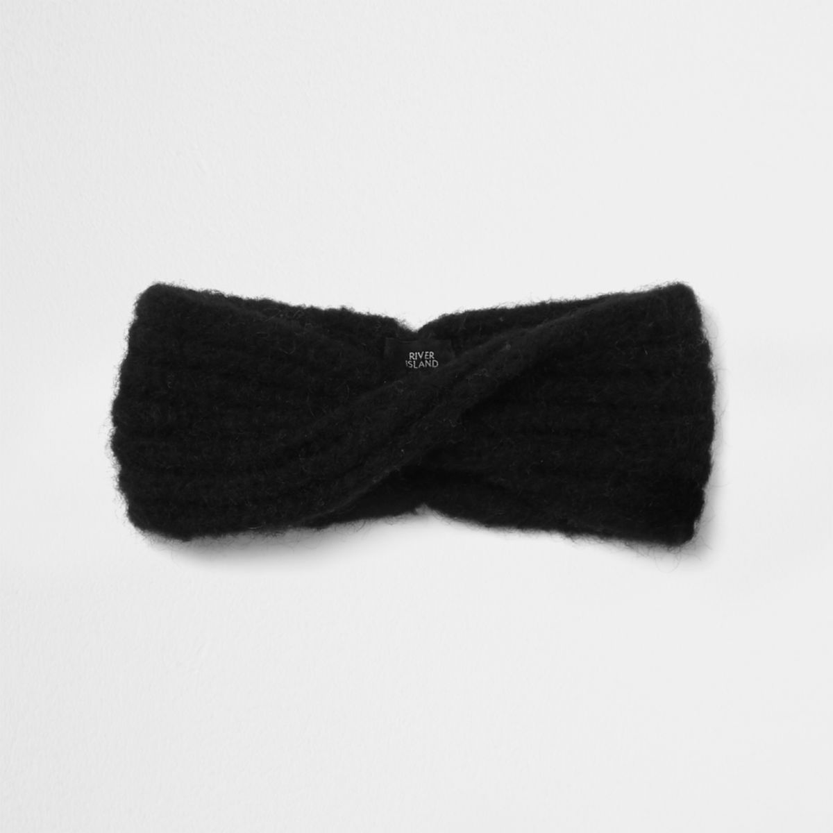 Black fluffy knit twist headband