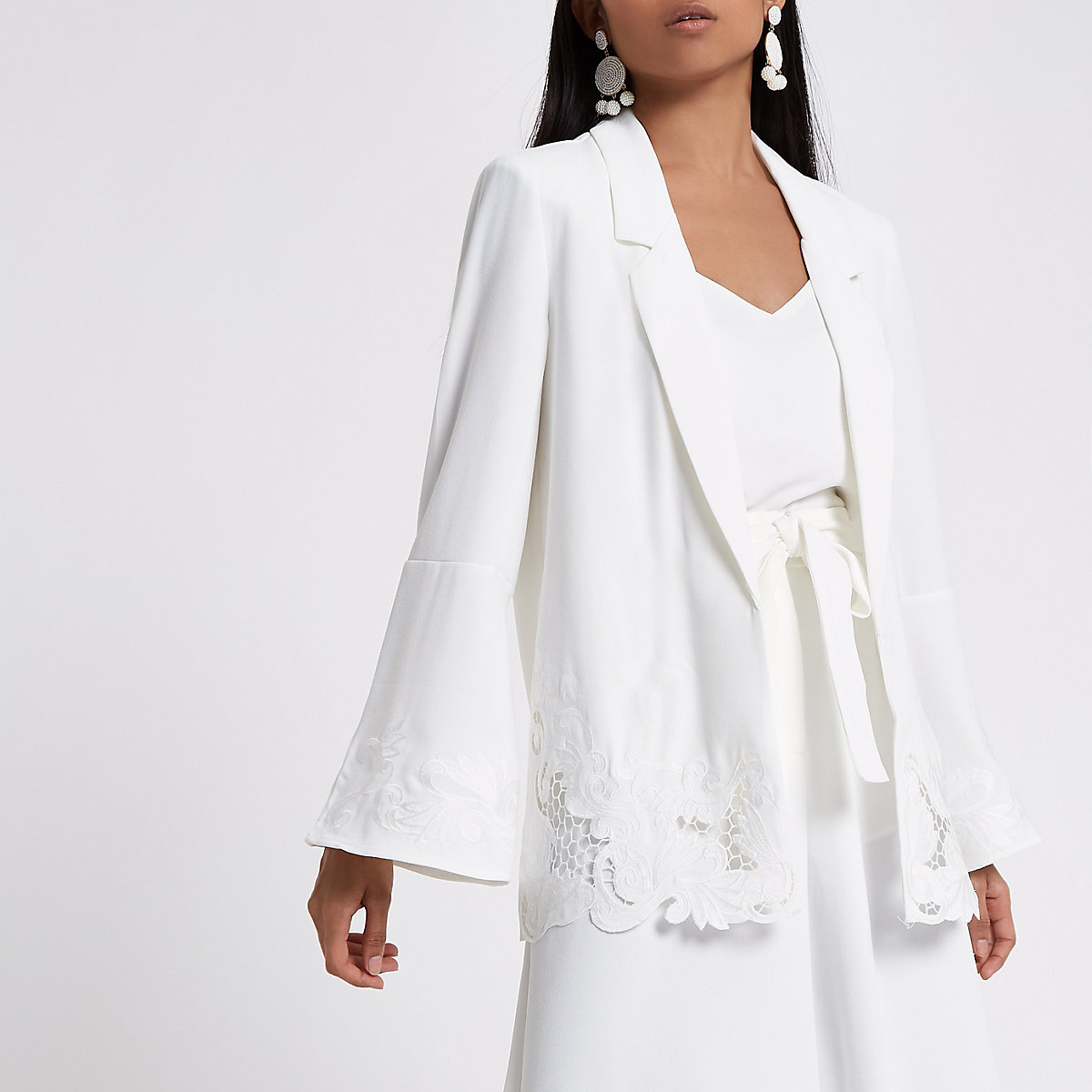 Petite white crochet hem wide sleeve blazer