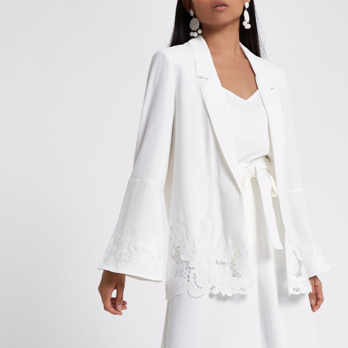 Petite white crochet hem wide sleeve blazer