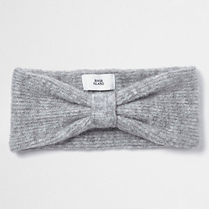Grey knot front knit headband