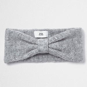 Bandeau gris en tricot avec nœud sur le devant