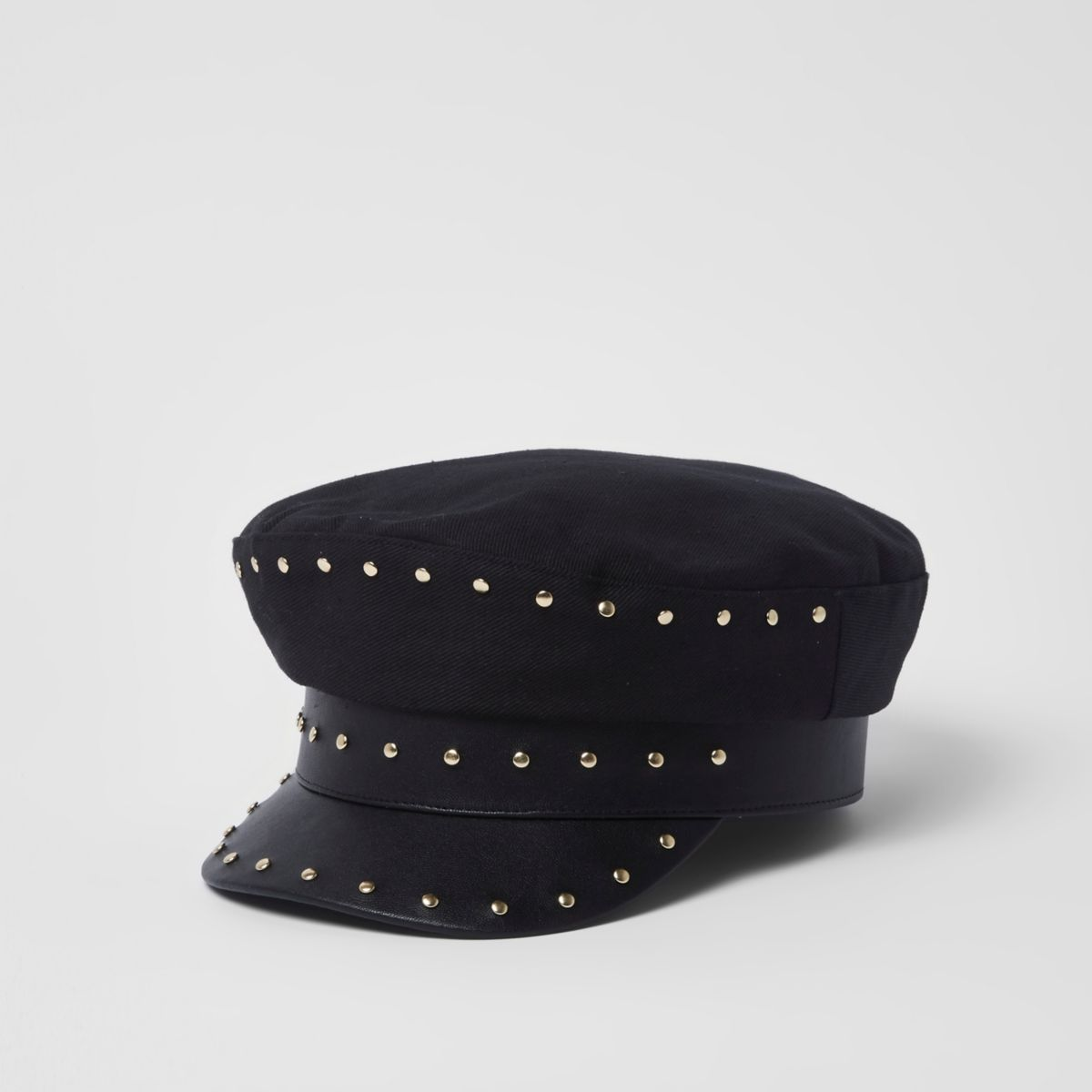 Black studded baker boy hat