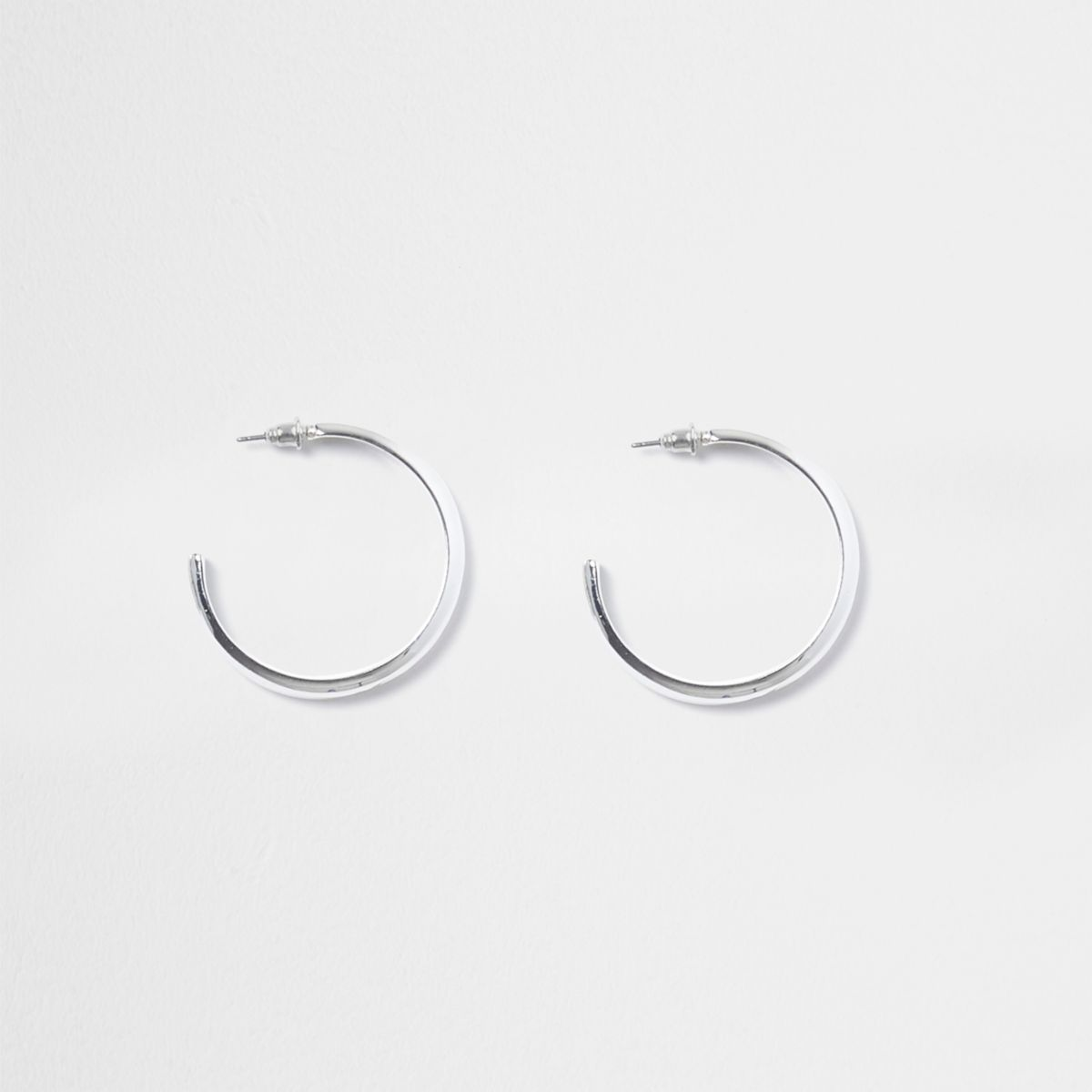 Silver tone chunky hoop earrings