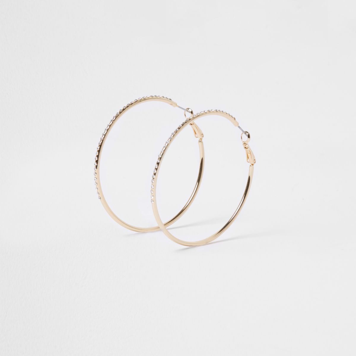 Gold tone diamante encrusted hoop earrings