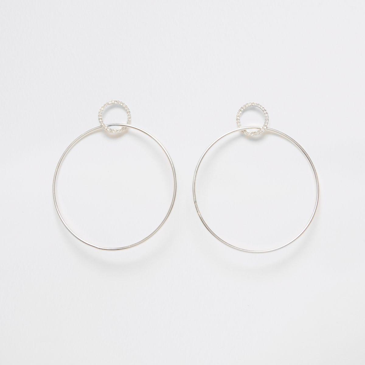 Silver tone pave hoop drop earrings