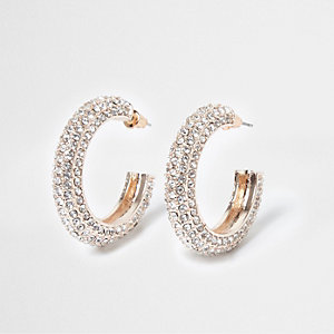 Rose gold tone diamante hoop earrings