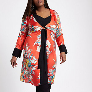 Plus red tropical print twist front kimono