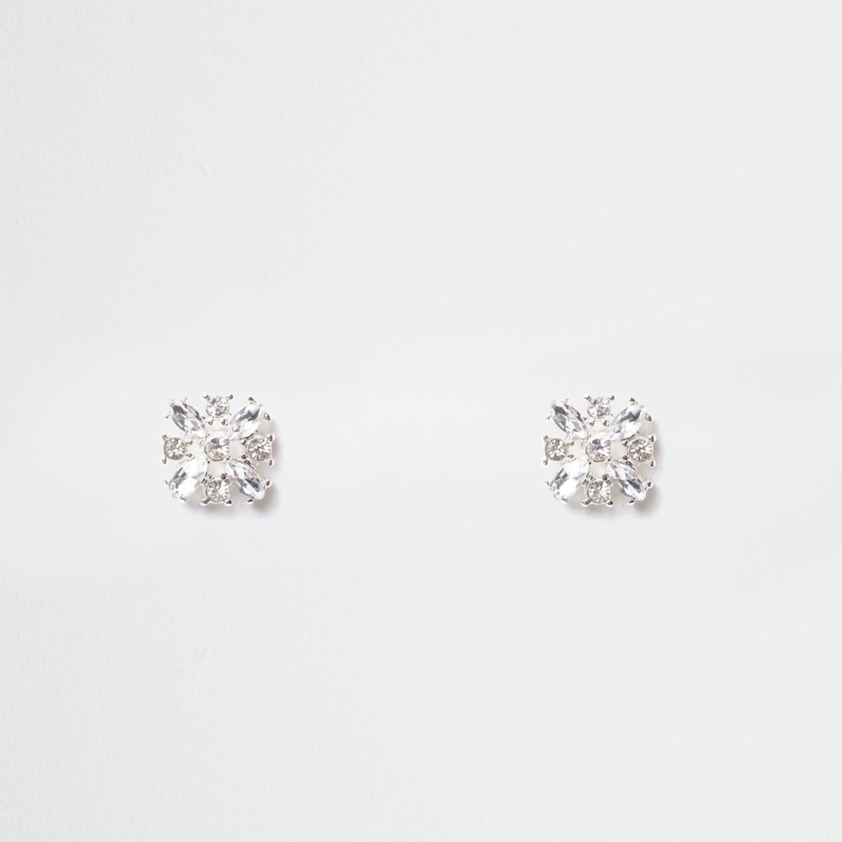 Silver tone diamante stud earring