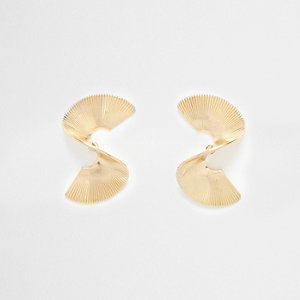 Gold tone mini twist stud earrings